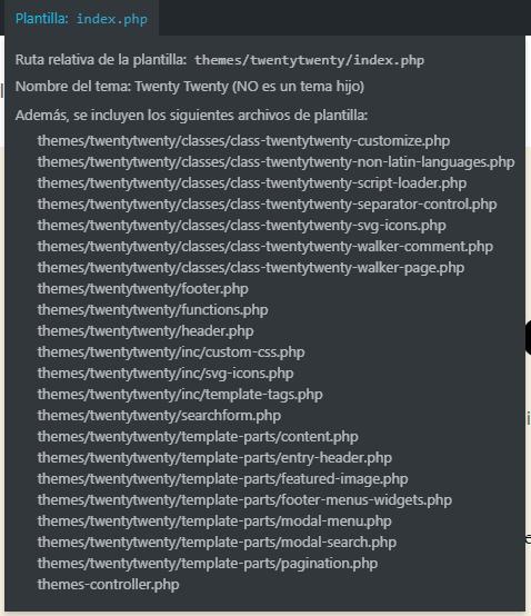 Información que nos muestra el plugin de desarrollo web Show Current Template