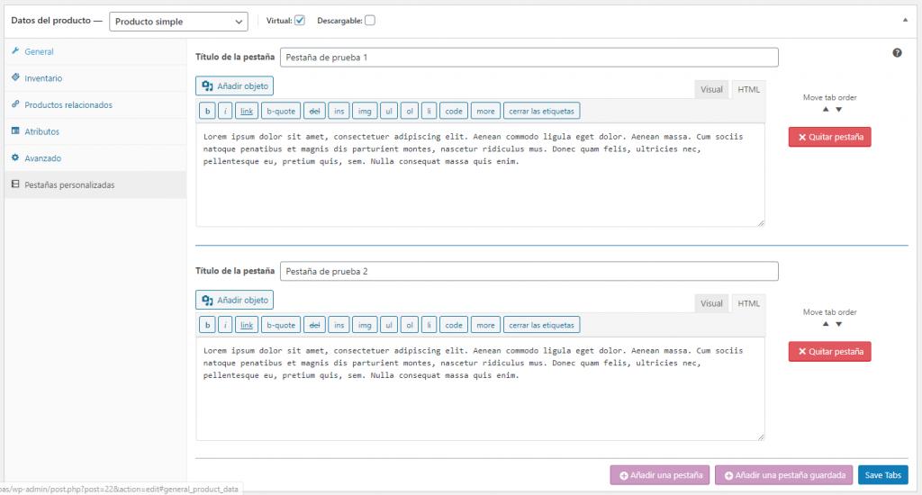 Añadiendo 2 pestañas personalizadas en Custom Product Tabs for WooCommerce