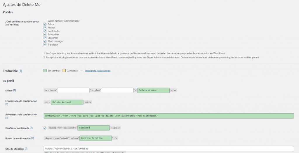 Ajustes de configuración de borrado de usuarios en Delete Me