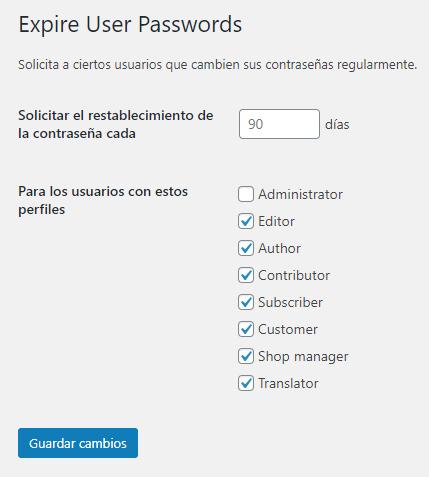 Configuración de restablecimiento de contraseña en Expire User Passwords