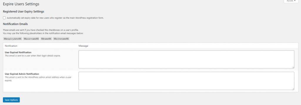 Panel de expiración de usuarios en Expire Users