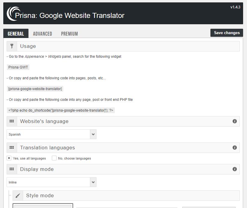 Configuración de idiomas de  Google Website Translator