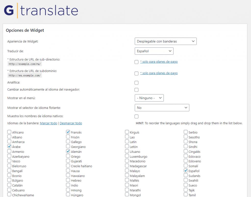 Pantalla de configuración de idiomas en GTranslate