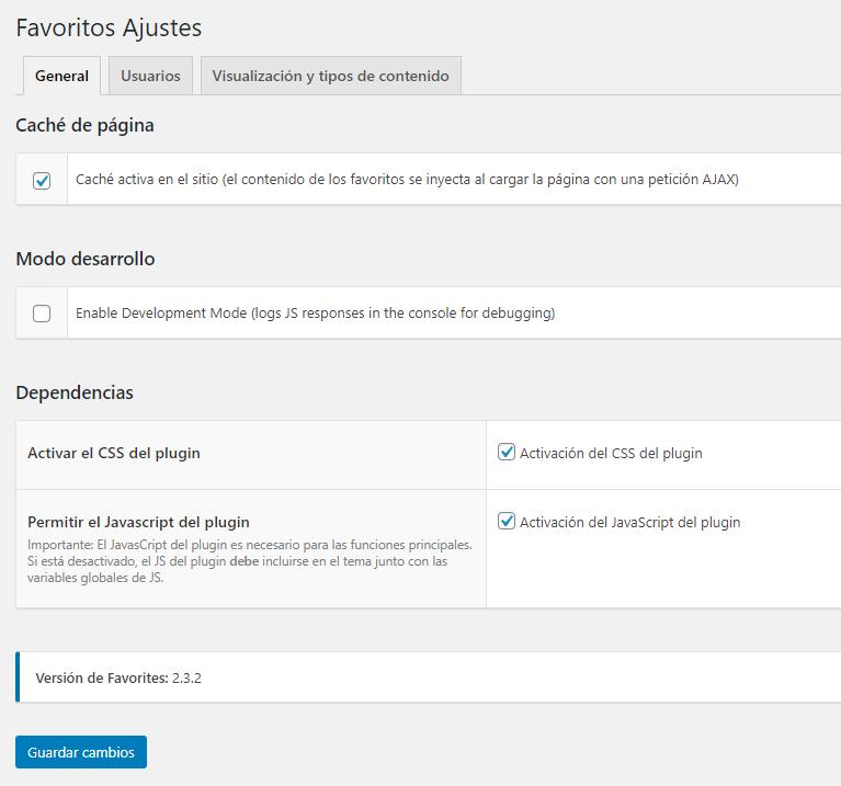 Ajustes y opciones del plugin Favorites