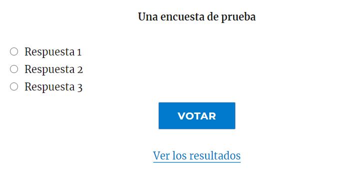 Ejemplo de encuesta creada con WP-Polls