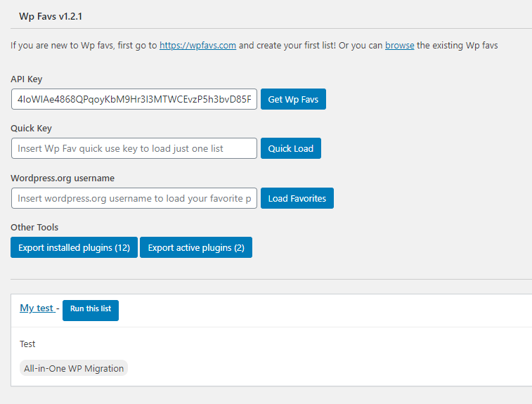 Pantalla de configuración del plugin Wp Favs – Plugin Manager
