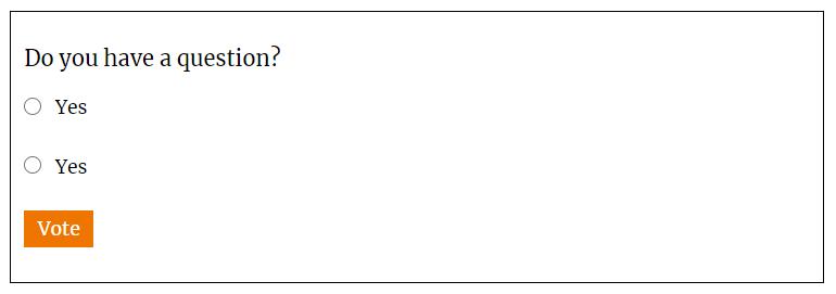 Ejemplo de formulario creado con YOP Poll