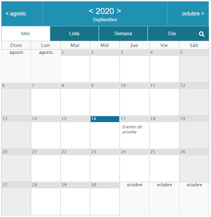 Vista de calendario en Event Calendar WD