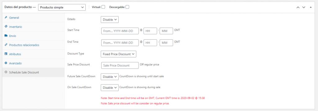 Configuración de descuentos programados en Woocommerce Sale Discount Scheduler