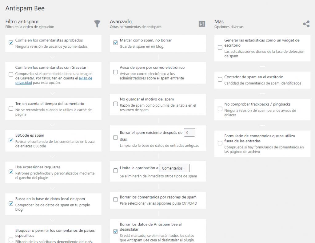 Panel de configuración antispam del plugin Antispam Bee