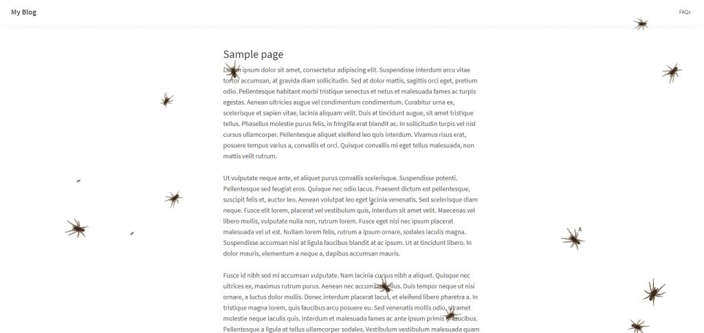 Arañas e insectos creados con el plugin Simple Halloween Decoration For Your Page