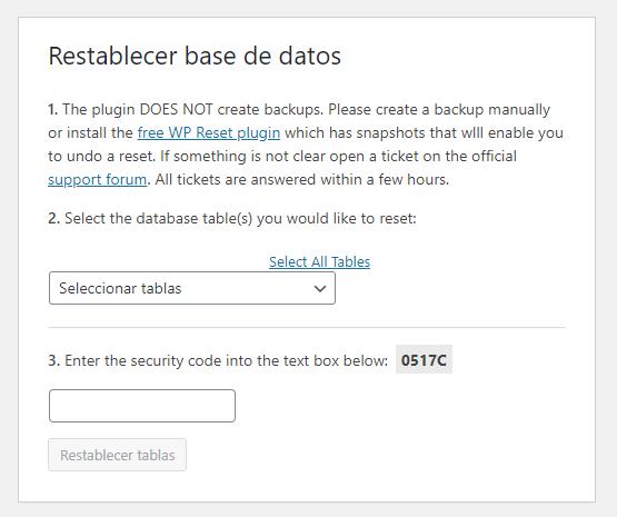 Opciones para resetear las tablas de la base de datos en WP Database Reset