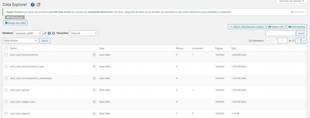 Panel de edición de base de datos en WP Data Access