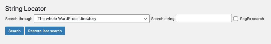 Elementos del plugin String Locator: Desplegable y barra de búsqueda